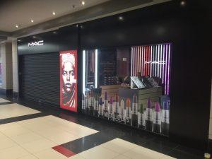 Grapevine media in store advertising MAC Metallic Lips window and lightbox - FSS Rosebank (2)