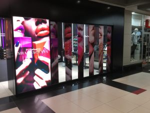 Grapevine media in store advertising MAC Shade Scents FSS Rosebank Window and lightbox