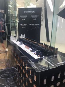 Grapevine media in store advertising Mac makeup station